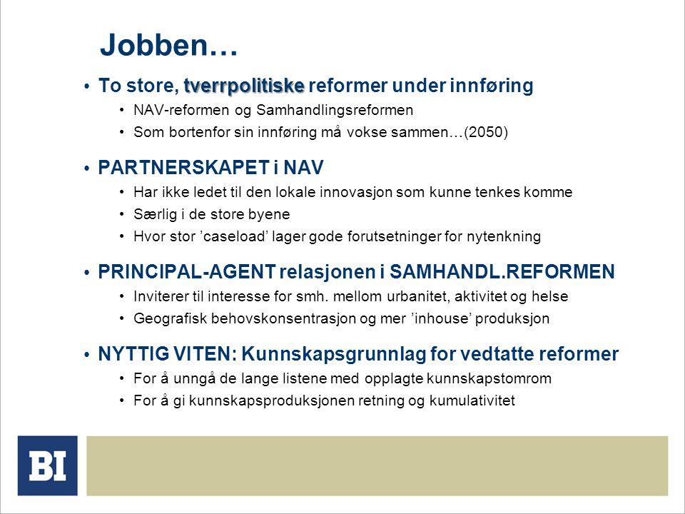 Jobben… tverrpolitiske To store, tverrpolitiske reformer under innføring NAV-reformen og Samhandlingsreformen Som bortenfor sin innføring må vokse sam