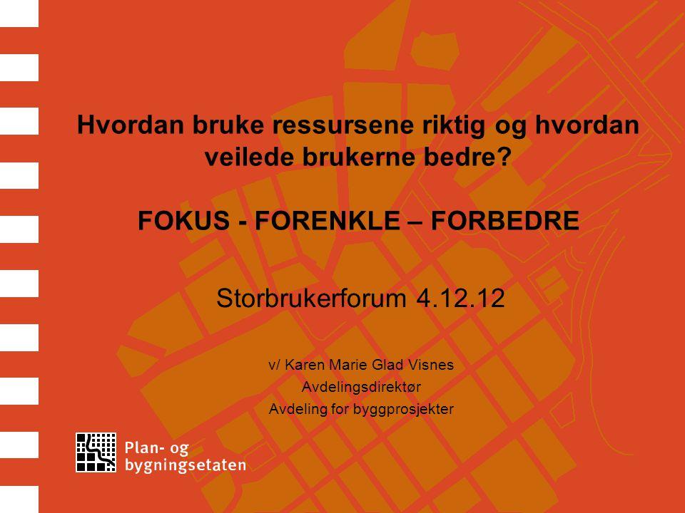 Hvordan bruke ressursene riktig og hvordan veilede brukerne bedre? FOKUS - FORENKLE – FORBEDRE Storbrukerforum 4.12.12 v/ Karen Marie Glad Visnes Avde