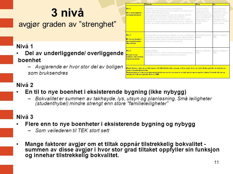 """11 3 nivå avgjør graden av """"strenghet"""" Nivå 1 Del av underliggende/ overliggende boenhet –Avgjørende er hvor stor del av boligen som bruksendres Nivå"""