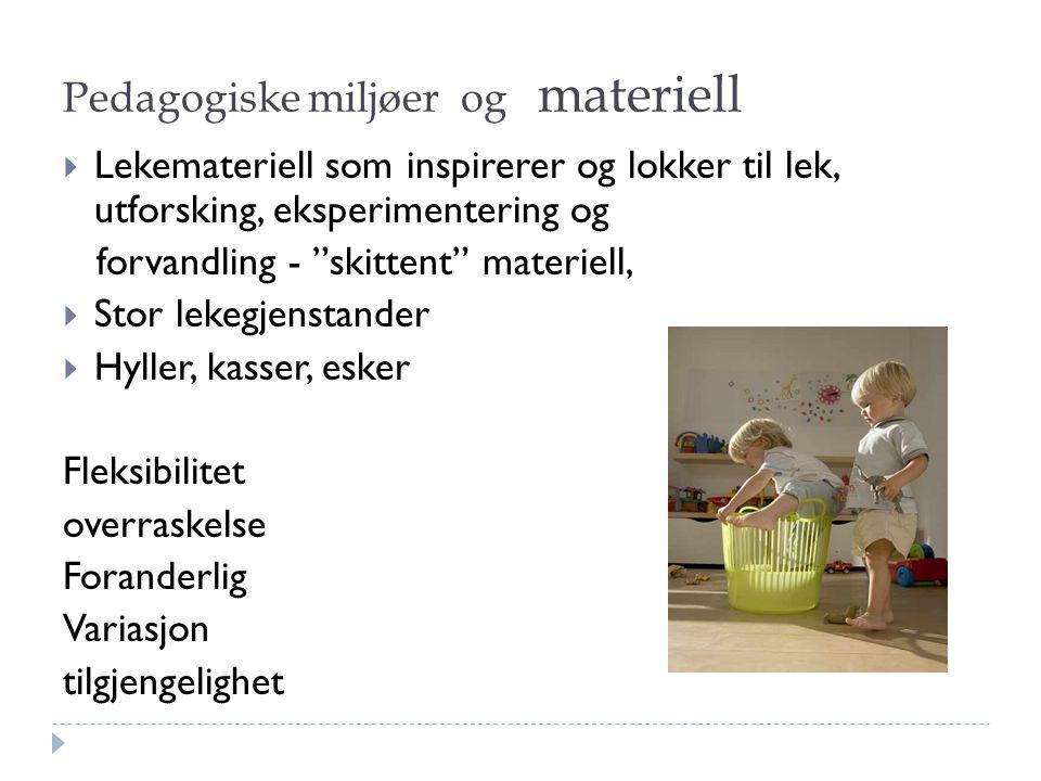 """Pedagogiske miljøer og materiell  Lekemateriell som inspirerer og lokker til lek, utforsking, eksperimentering og forvandling - """"skittent"""" materiell,"""