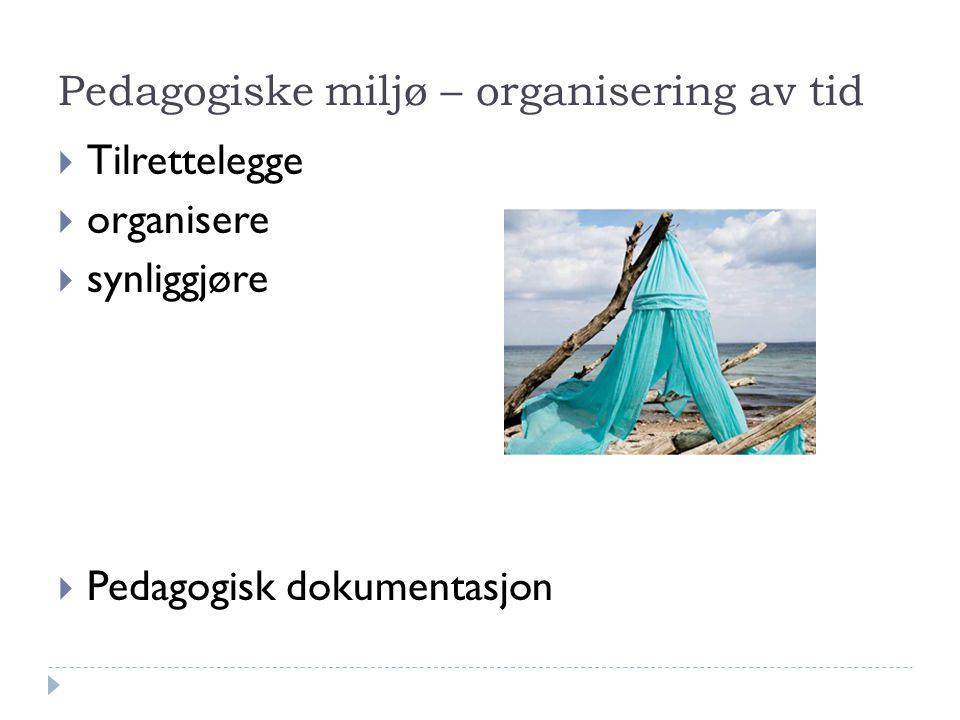 Pedagogiske miljø – organisering av tid  Tilrettelegge  organisere  synliggjøre  Pedagogisk dokumentasjon