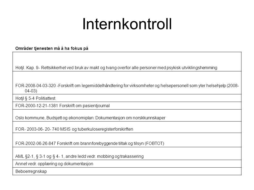 Internkontroll Områder tjenesten må å ha fokus på Hotjl. Kap. 9- Rettsikkerhet ved bruk av makt og tvang overfor alle personer med psykisk utviklingsh