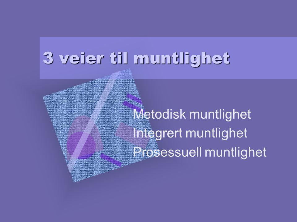 3 veier til muntlighet Metodisk muntlighet Integrert muntlighet Prosessuell muntlighet