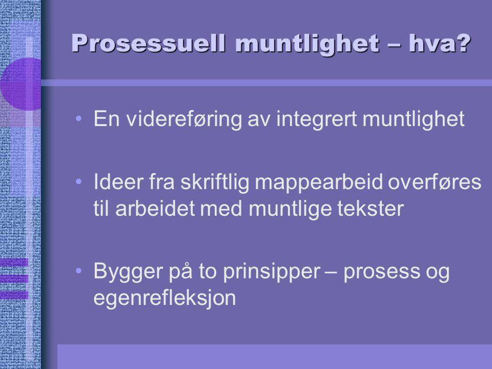 Prosessuell muntlighet – hva? En videreføring av integrert muntlighet Ideer fra skriftlig mappearbeid overføres til arbeidet med muntlige tekster Bygg
