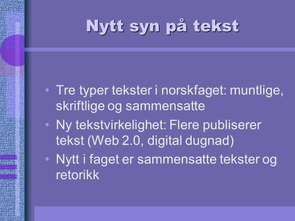 Nytt syn på tekst Tre typer tekster i norskfaget: muntlige, skriftlige og sammensatte Ny tekstvirkelighet: Flere publiserer tekst (Web 2.0, digital du