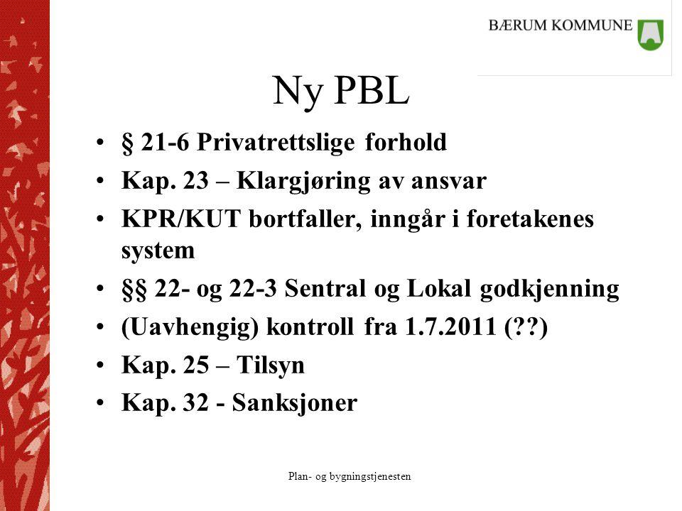 Plan- og bygningstjenesten Ny PBL § 21-6 Privatrettslige forhold Kap. 23 – Klargjøring av ansvar KPR/KUT bortfaller, inngår i foretakenes system §§ 22