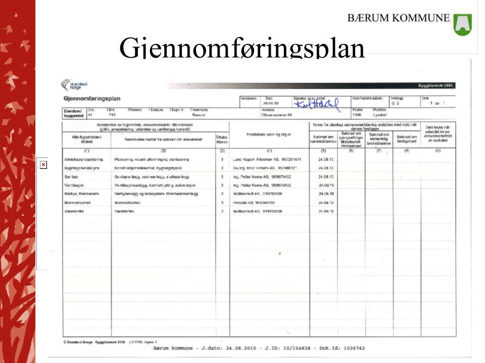 Plan- og bygningstjenesten Gjennomføringsplan