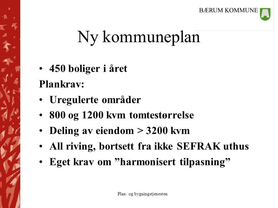Plan- og bygningstjenesten Ny kommuneplan 450 boliger i året Plankrav: Uregulerte områder 800 og 1200 kvm tomtestørrelse Deling av eiendom > 3200 kvm