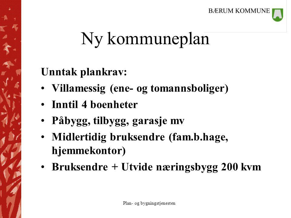 Plan- og bygningstjenesten Ny kommuneplan Materielle krav: Flom: 2,5 meter over høyvann MUA: inntil 20% kan dekkes på terrasser Støykrav (T-1442) Parkering 18 kvm (BYA) U-grad bortfaller, %BYA = 20%, 1980 (tidl.