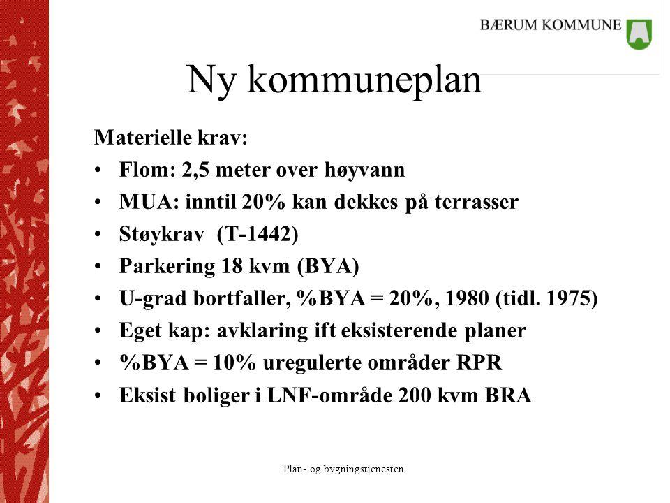 Plan- og bygningstjenesten Ny kommuneplan Materielle krav: Flom: 2,5 meter over høyvann MUA: inntil 20% kan dekkes på terrasser Støykrav (T-1442) Park