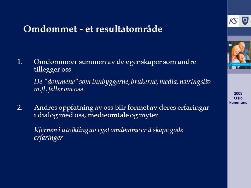 2008 Oslo kommune Omdømmet - et resultatområde 1.Omdømme er summen av de egenskaper som andre tillegger oss De dommene som innbyggerne, brukerne, media, næringsliv m.fl.