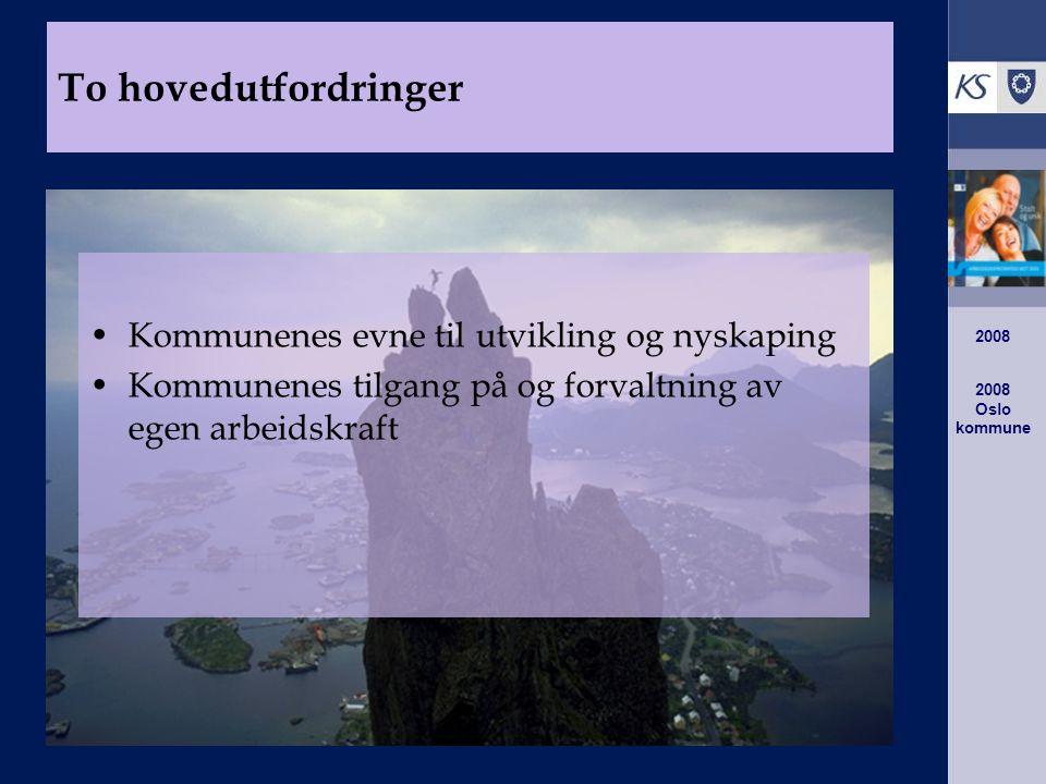 2008 Oslo kommune 2008 Kommunenes evne til utvikling og nyskaping Kommunenes tilgang på og forvaltning av egen arbeidskraft To hovedutfordringer