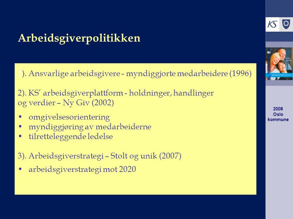 2008 Oslo kommune Aktuelle utfordringer for kommunal sektor Knappe økonomiske ressurser og krav til effektivisering Mer krevende brukere, lovfesting av brukerrettigheter og økt vekt på kvalitet i tjenesteytingen ( kunder, ikke klienter ) Økt fokus på omdømme og legitimitet Knapphet på arbeidskraft og liten fleksibilitet mht.