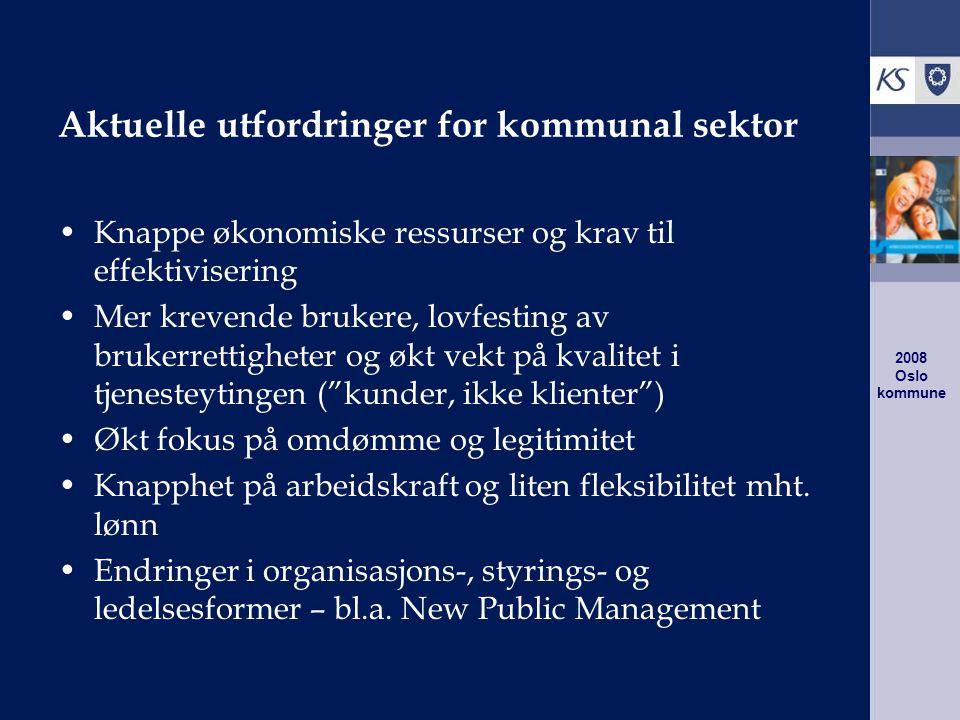2008 Oslo kommune New Public Management Modeller og teknikker for organisasjon, ledelse og styring av offentlig sektor, inspirert av forbilder fra privat sektor