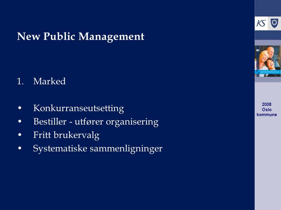 2008 Oslo kommune New Public Management 1.Marked Konkurranseutsetting Bestiller - utfører organisering Fritt brukervalg Systematiske sammenligninger