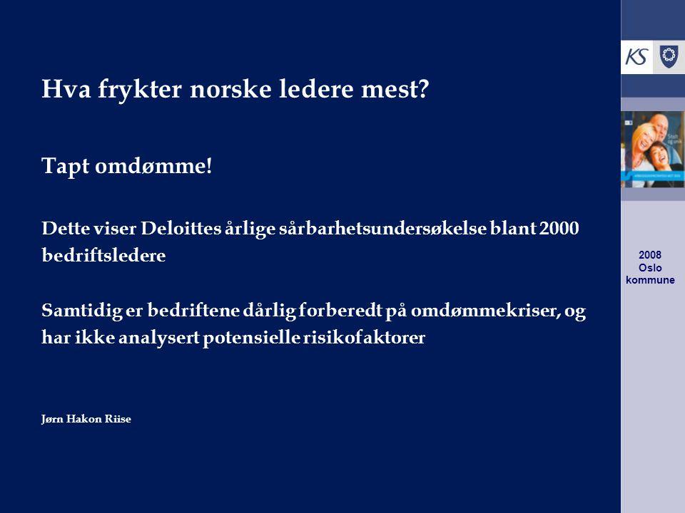 2008 Oslo kommune Referanser Arbeidsgiverstrategien (AGS 2020) http://www.ks.no/upload/93166/ags2020.pdf Fra mål til resultat - Styringssystemer http://katalog.kommuneforlaget.no/katprod.asp?id=2783 Attraktiv seniorpolitikk http://www.ks.no/templates/Page.aspx?id=49034 Framtidens ledelse i kommunene http://www.ks.no/templates/Page.aspx?id=47569