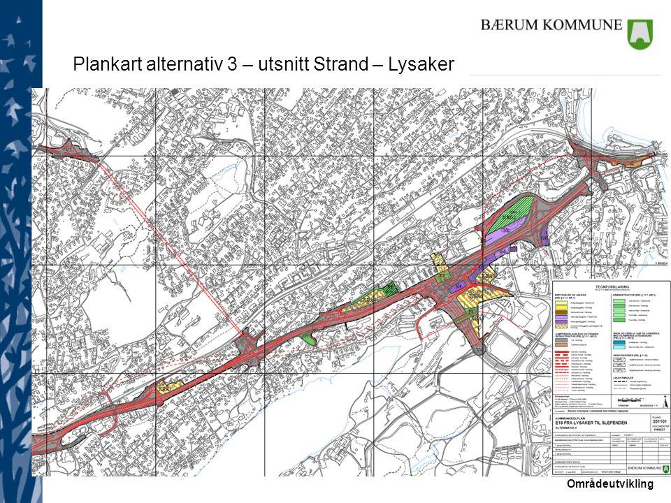 Områdeutvikling Plankart alternativ 3 – utsnitt Strand – Lysaker