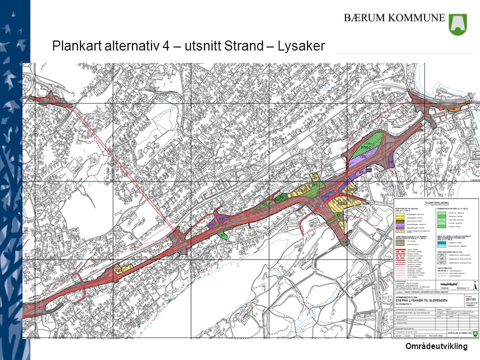 Områdeutvikling Plankart alternativ 4 – utsnitt Strand – Lysaker