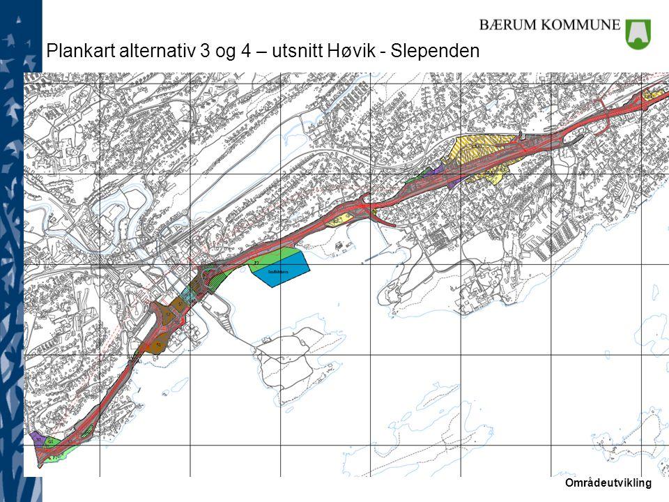 Områdeutvikling Plankart alternativ 3 og 4 – utsnitt Høvik - Slependen