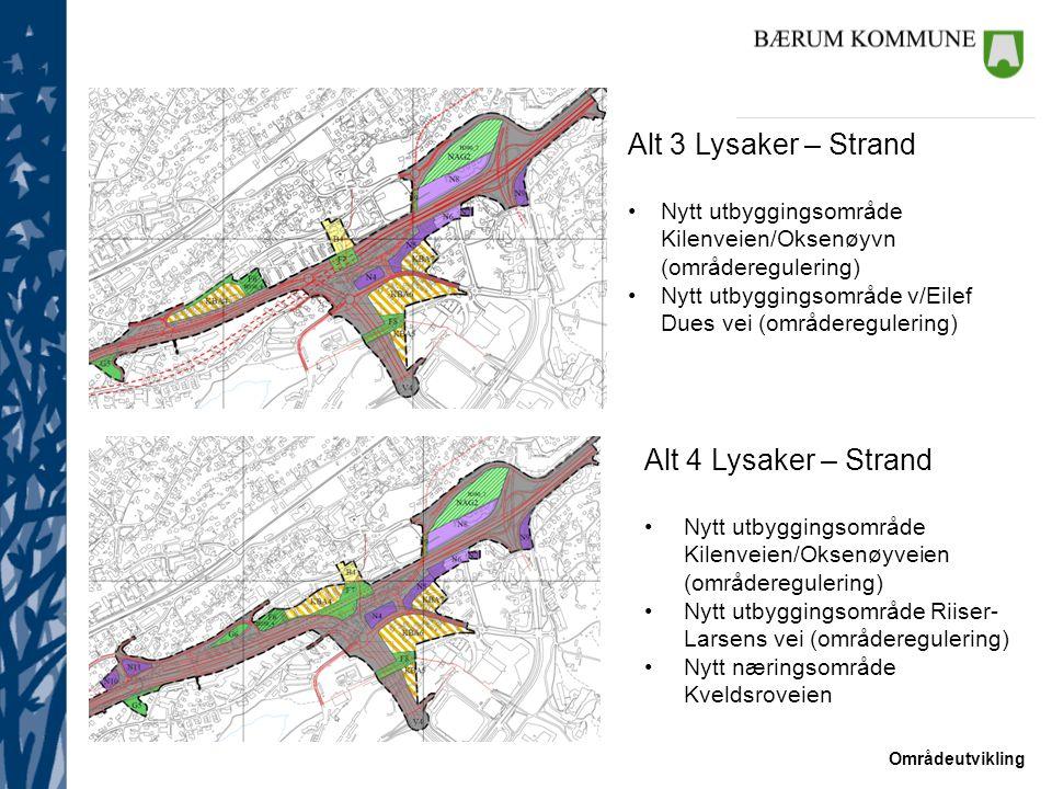Områdeutvikling Alt 3 Lysaker – Strand Nytt utbyggingsområde Kilenveien/Oksenøyvn (områderegulering) Nytt utbyggingsområde v/Eilef Dues vei (områdereg