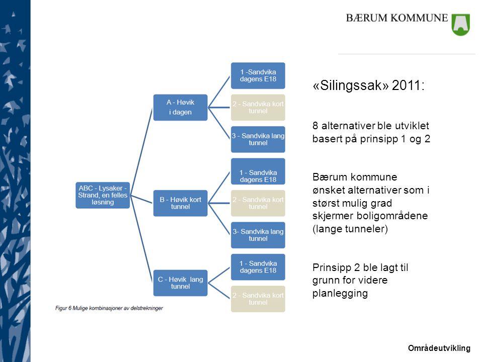 Områdeutvikling «Silingssak» 2011: 8 alternativer ble utviklet basert på prinsipp 1 og 2 Bærum kommune ønsket alternativer som i størst mulig grad skj