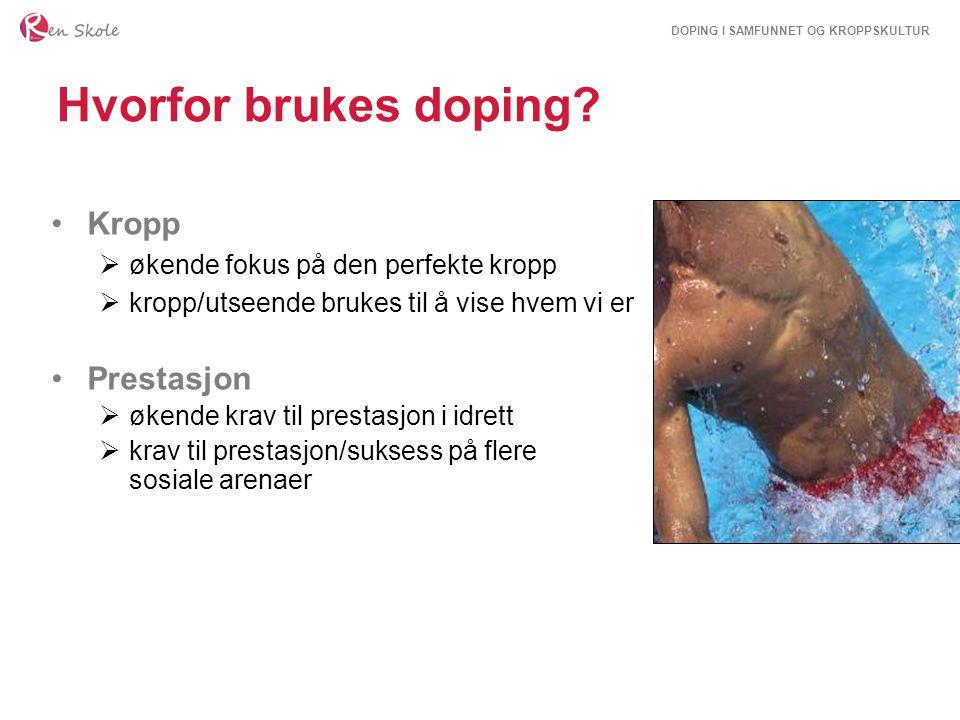DOPING I SAMFUNNET OG KROPPSKULTUR Hvorfor brukes doping? Kropp  økende fokus på den perfekte kropp  kropp/utseende brukes til å vise hvem vi er Pre
