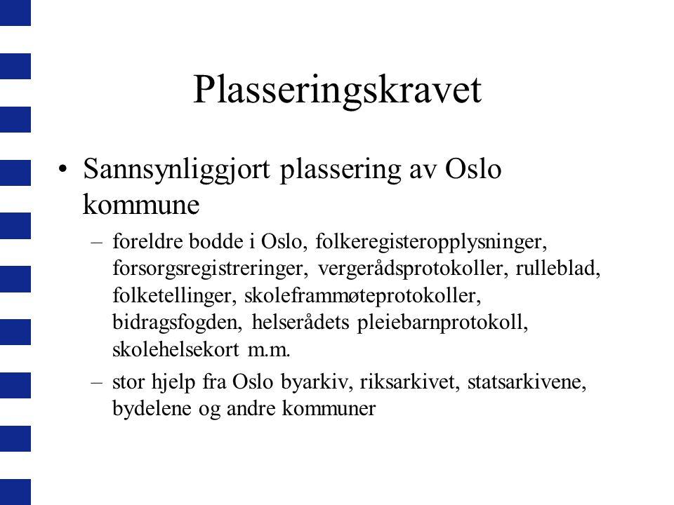 Plasseringskravet Sannsynliggjort plassering av Oslo kommune –foreldre bodde i Oslo, folkeregisteropplysninger, forsorgsregistreringer, vergerådsproto