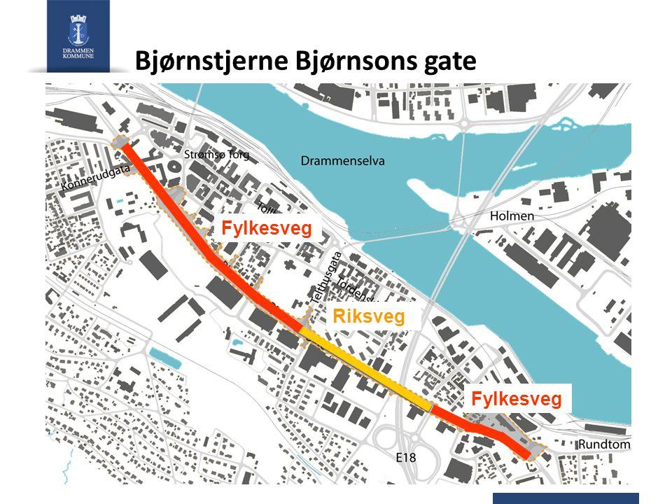 Bjørnstjerne Bjørnsons gate - utvidelse Buskerud fylkeskommune - handlingsprogram for fylkesveger 2010-2013: – 62 mill kr i 2013 – 60 mill kr etter 2013 Midler for riksvegdelen er uavklart.
