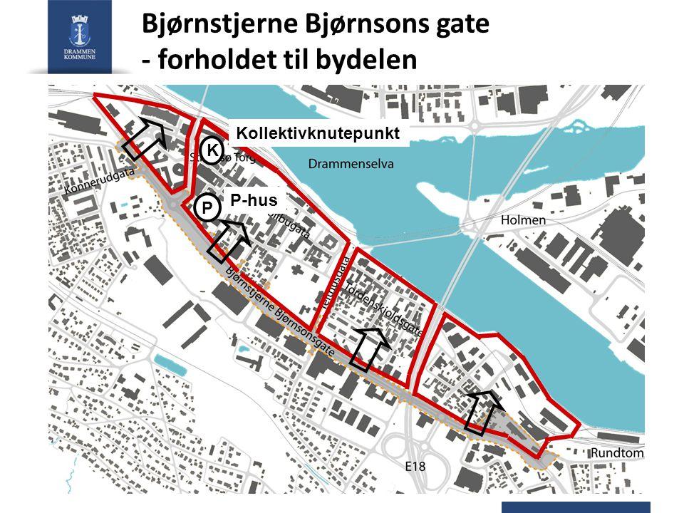 Bjørnstjerne Bjørnsons gate - forholdet til bydelen Kollektivknutepunkt K P-hus P