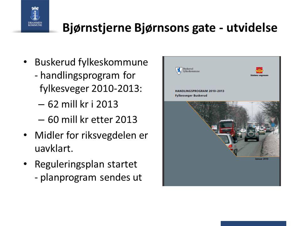 Bjørnstjerne Bjørnsons gate - utvidelse Buskerud fylkeskommune - handlingsprogram for fylkesveger 2010-2013: – 62 mill kr i 2013 – 60 mill kr etter 20
