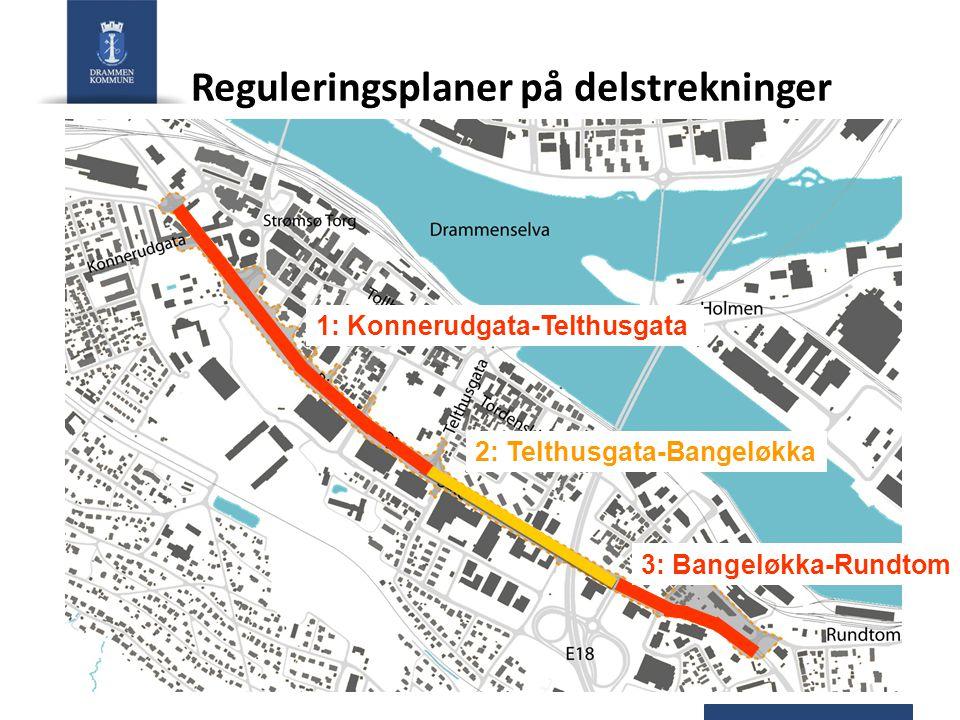 1: Konnerudgata-Telthusgata 3: Bangeløkka-Rundtom 2: Telthusgata-Bangeløkka Reguleringsplaner på delstrekninger