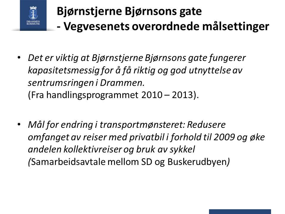 Bjørnstjerne Bjørnsons gate - Vegvesenets forslag til prosjektets mål Bjørnstjerne Bjørnsons gate skal fungere som en kapasitetssterk del av sentrumsringen.