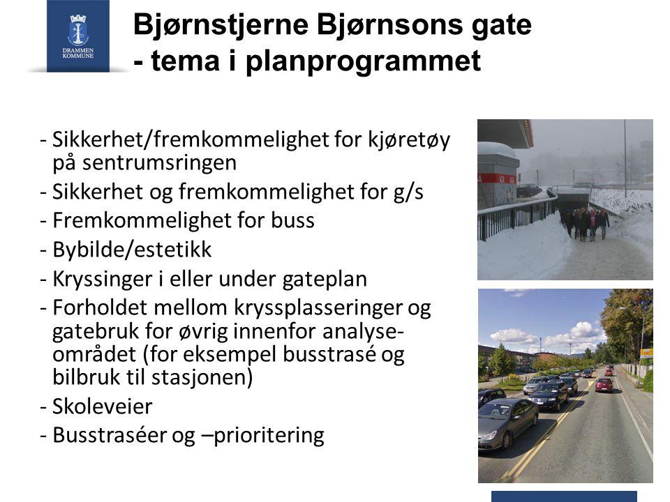 Bjørnstjerne Bjørnsons gate - tema i planprogrammet - Sikkerhet/fremkommelighet for kjøretøy på sentrumsringen -Sikkerhet og fremkommelighet for g/s -