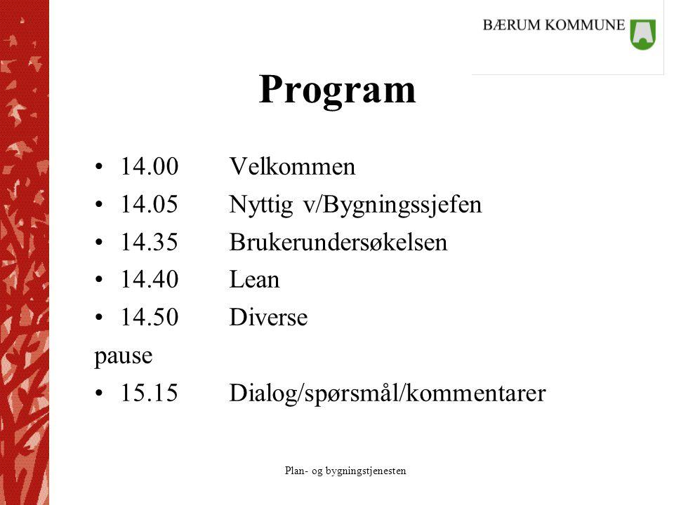 Plan- og bygningstjenesten Program 14.00Velkommen 14.05Nyttig v/Bygningssjefen 14.35Brukerundersøkelsen 14.40Lean 14.50Diverse pause 15.15Dialog/spørsmål/kommentarer