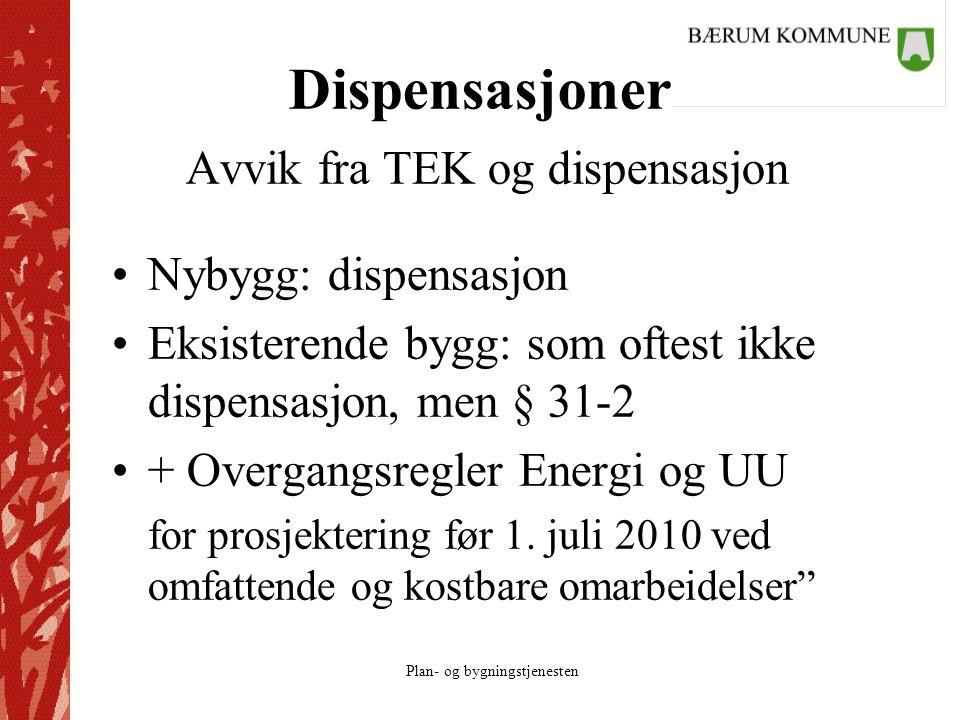Plan- og bygningstjenesten Dispensasjoner Avvik fra TEK og dispensasjon Nybygg: dispensasjon Eksisterende bygg: som oftest ikke dispensasjon, men § 31-2 + Overgangsregler Energi og UU for prosjektering før 1.