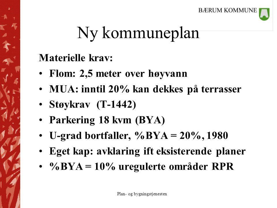 Plan- og bygningstjenesten Ny kommuneplan Materielle krav: Flom: 2,5 meter over høyvann MUA: inntil 20% kan dekkes på terrasser Støykrav (T-1442) Parkering 18 kvm (BYA) U-grad bortfaller, %BYA = 20%, 1980 Eget kap: avklaring ift eksisterende planer %BYA = 10% uregulerte områder RPR