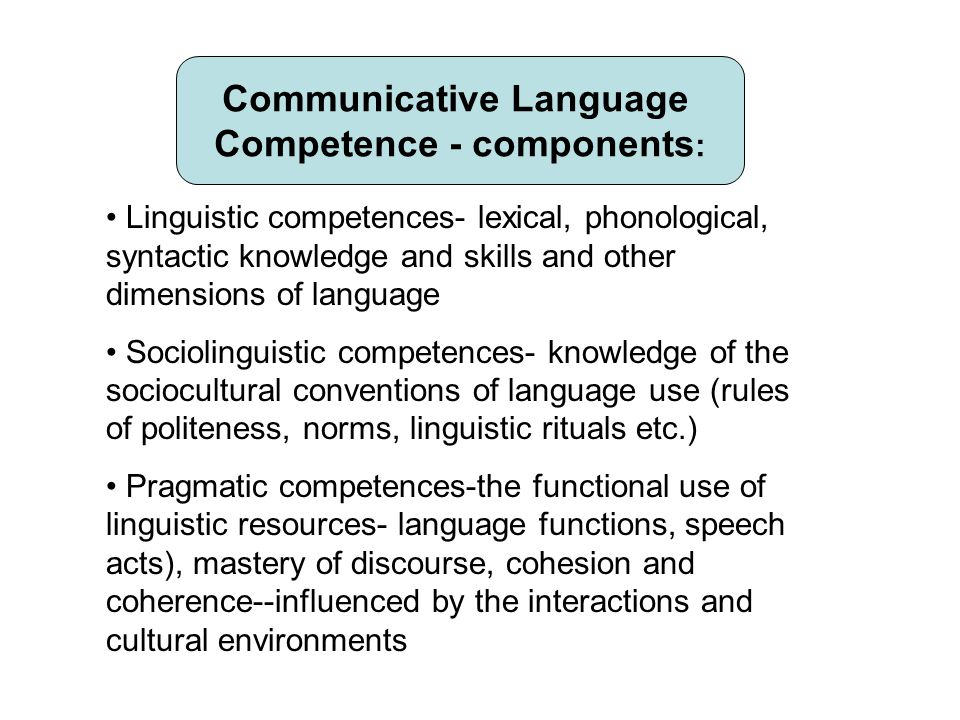 Communicative Language Competence - components : Linguistic competences- lexical, phonological, syntactic knowledge and skills and other dimensions of language Sociolinguistic competences- knowledge of the sociocultural conventions of language use (rules of politeness, norms, linguistic rituals etc.) Pragmatic competences-the functional use of linguistic resources- language functions, speech acts), mastery of discourse, cohesion and coherence--influenced by the interactions and cultural environments