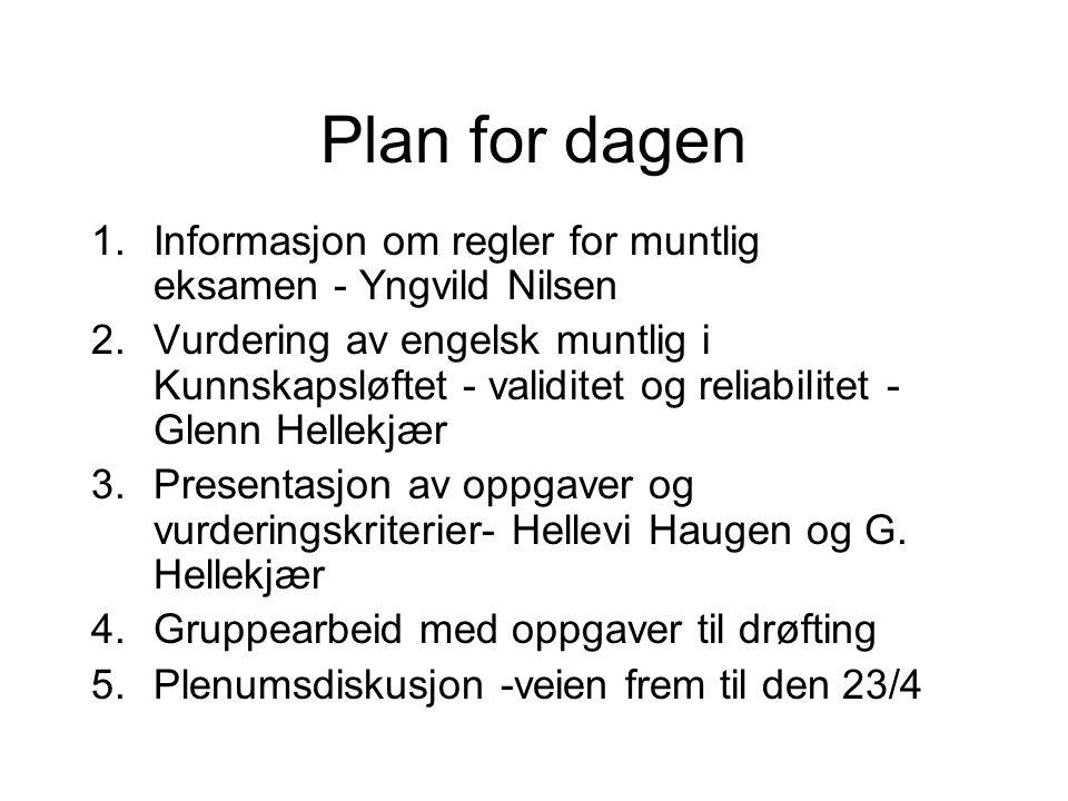 Plan for dagen 1.Informasjon om regler for muntlig eksamen - Yngvild Nilsen 2.Vurdering av engelsk muntlig i Kunnskapsløftet - validitet og reliabilit