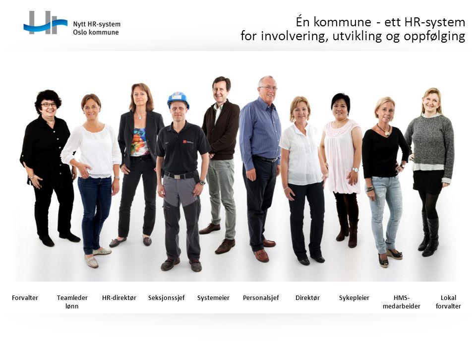 Én kommune - ett HR-system for involvering, utvikling og oppfølging ForvalterTeamleder lønn HR-direktørSeksjonssjefSystemeierPersonalsjefDirektørSykep