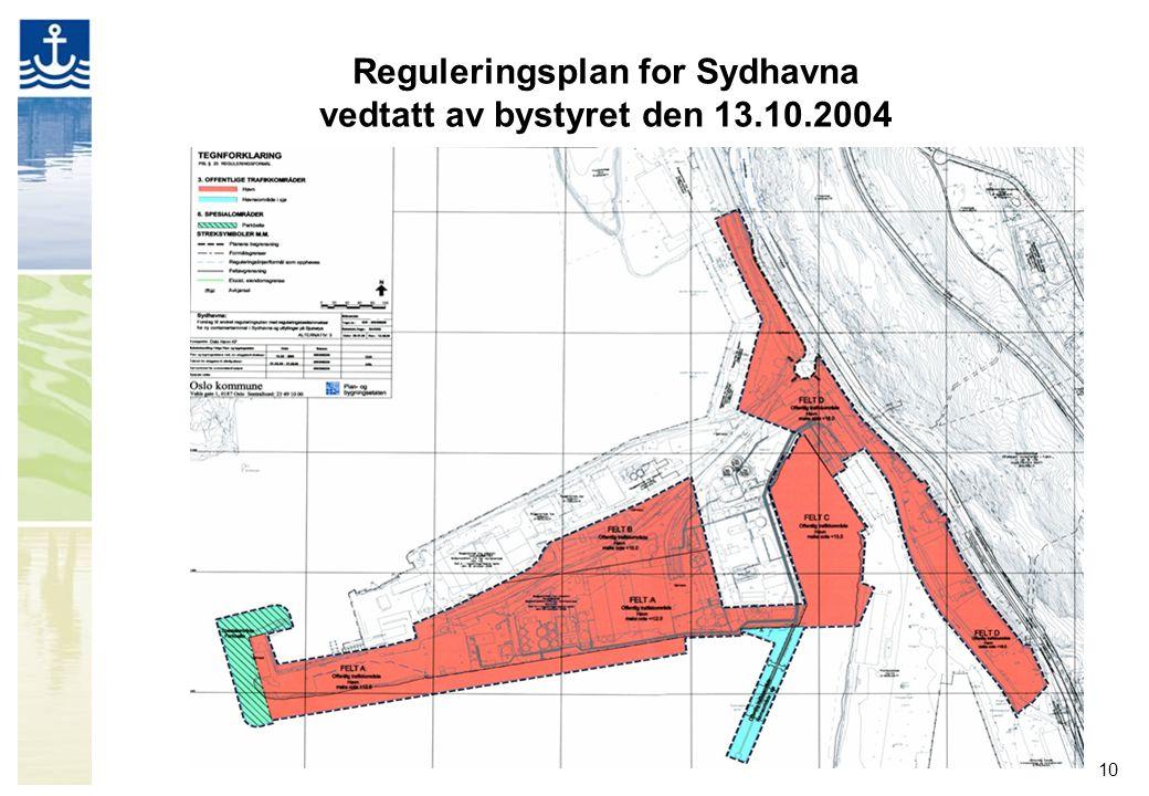 10 Reguleringsplan for Sydhavna vedtatt av bystyret den 13.10.2004