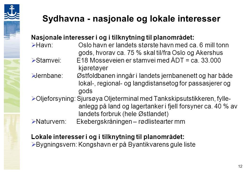 12 Sydhavna - nasjonale og lokale interesser Nasjonale interesser i og i tilknytning til planområdet:  Havn: Oslo havn er landets største havn med ca.