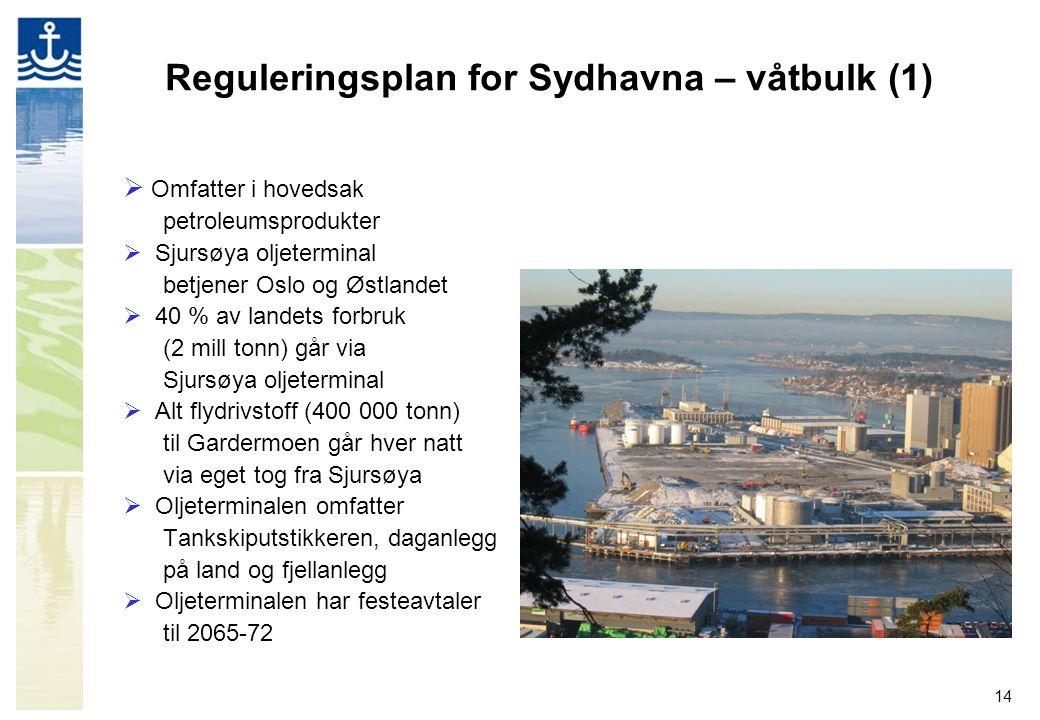 14 Reguleringsplan for Sydhavna – våtbulk (1)  Omfatter i hovedsak petroleumsprodukter  Sjursøya oljeterminal betjener Oslo og Østlandet  40 % av landets forbruk (2 mill tonn) går via Sjursøya oljeterminal  Alt flydrivstoff (400 000 tonn) til Gardermoen går hver natt via eget tog fra Sjursøya  Oljeterminalen omfatter Tankskiputstikkeren, daganlegg på land og fjellanlegg  Oljeterminalen har festeavtaler til 2065-72
