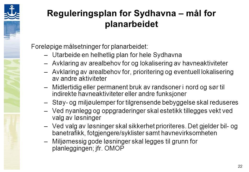 22 Reguleringsplan for Sydhavna – mål for planarbeidet Foreløpige målsetninger for planarbeidet: –Utarbeide en helhetlig plan for hele Sydhavna –Avkla