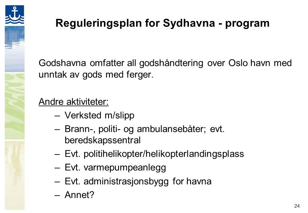 24 Reguleringsplan for Sydhavna - program Godshavna omfatter all godshåndtering over Oslo havn med unntak av gods med ferger. Andre aktiviteter: –Verk