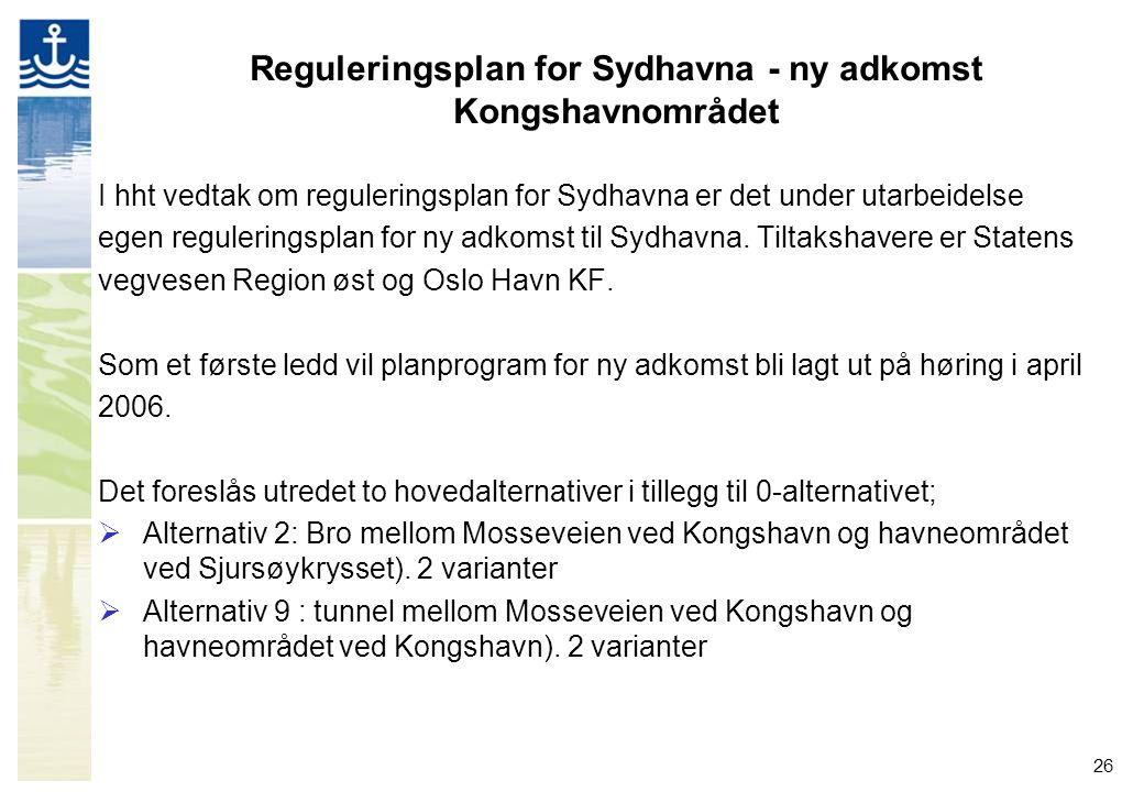 26 Reguleringsplan for Sydhavna - ny adkomst Kongshavnområdet I hht vedtak om reguleringsplan for Sydhavna er det under utarbeidelse egen reguleringsp