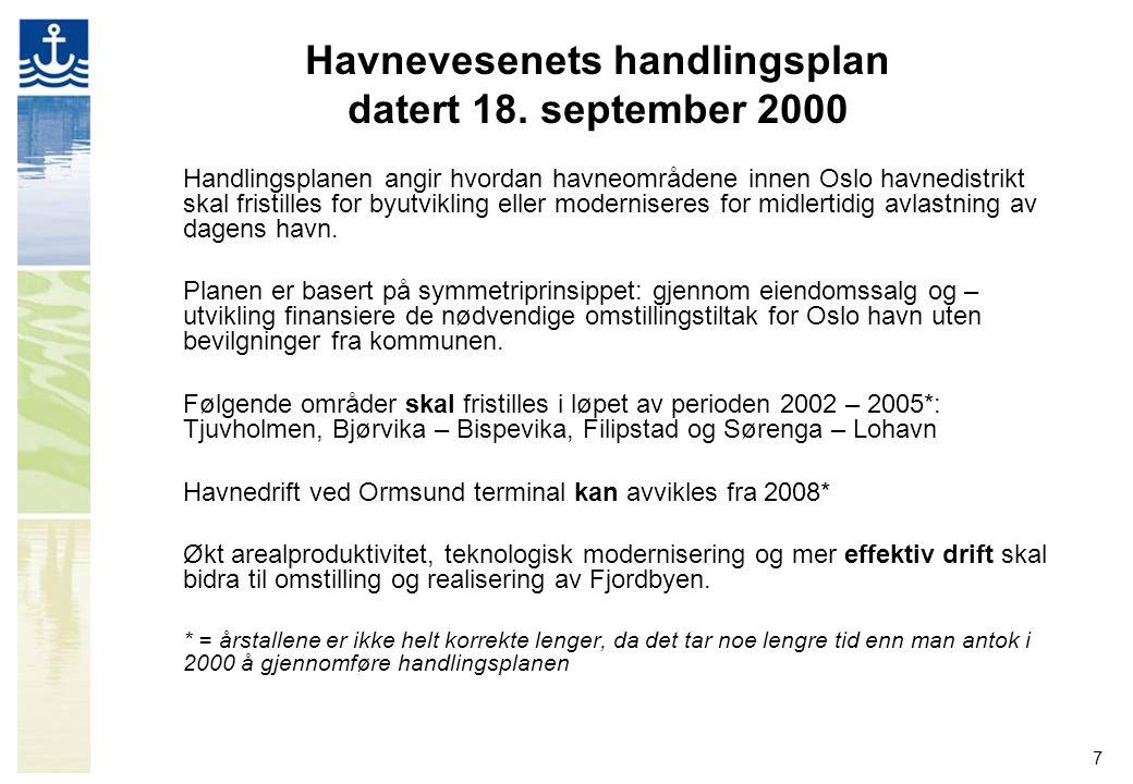 7 Havnevesenets handlingsplan datert 18. september 2000 Handlingsplanen angir hvordan havneområdene innen Oslo havnedistrikt skal fristilles for byutv