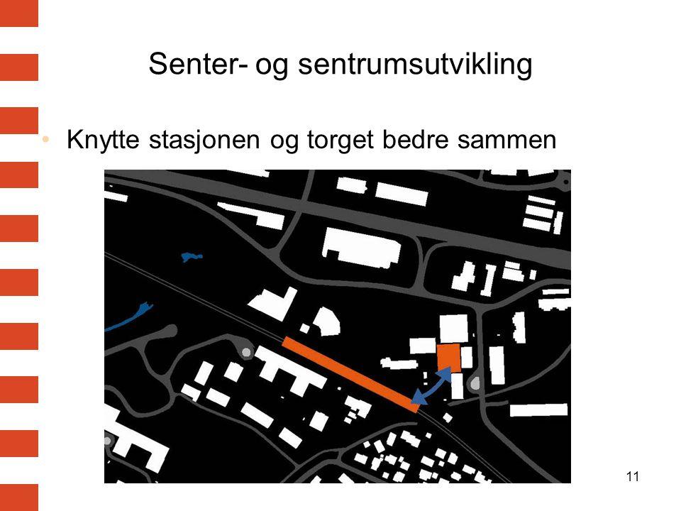 11 Senter- og sentrumsutvikling Knytte stasjonen og torget bedre sammen