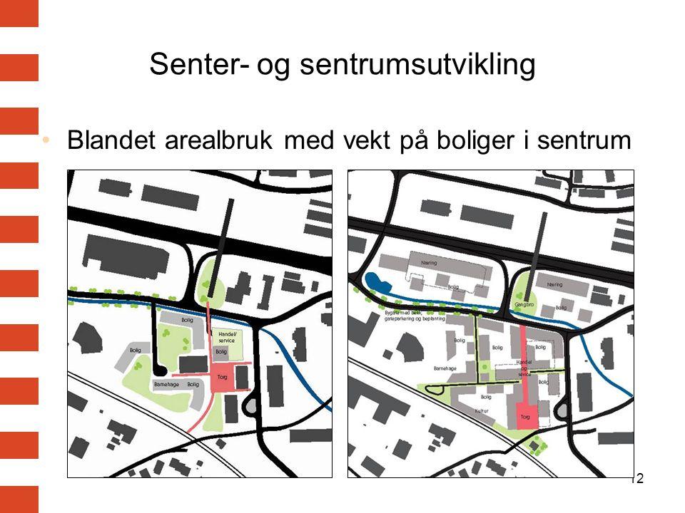 12 Senter- og sentrumsutvikling Blandet arealbruk med vekt på boliger i sentrum
