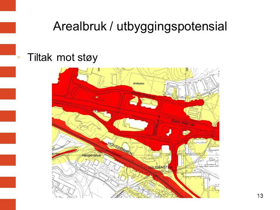 13 Arealbruk / utbyggingspotensial Tiltak mot støy