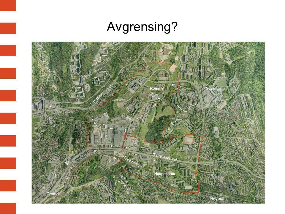 2 Avgrensing? Haugenstua Høybråten Grorud RommenStovner Østre Aker vei Trondheimsveien Hovedbanen
